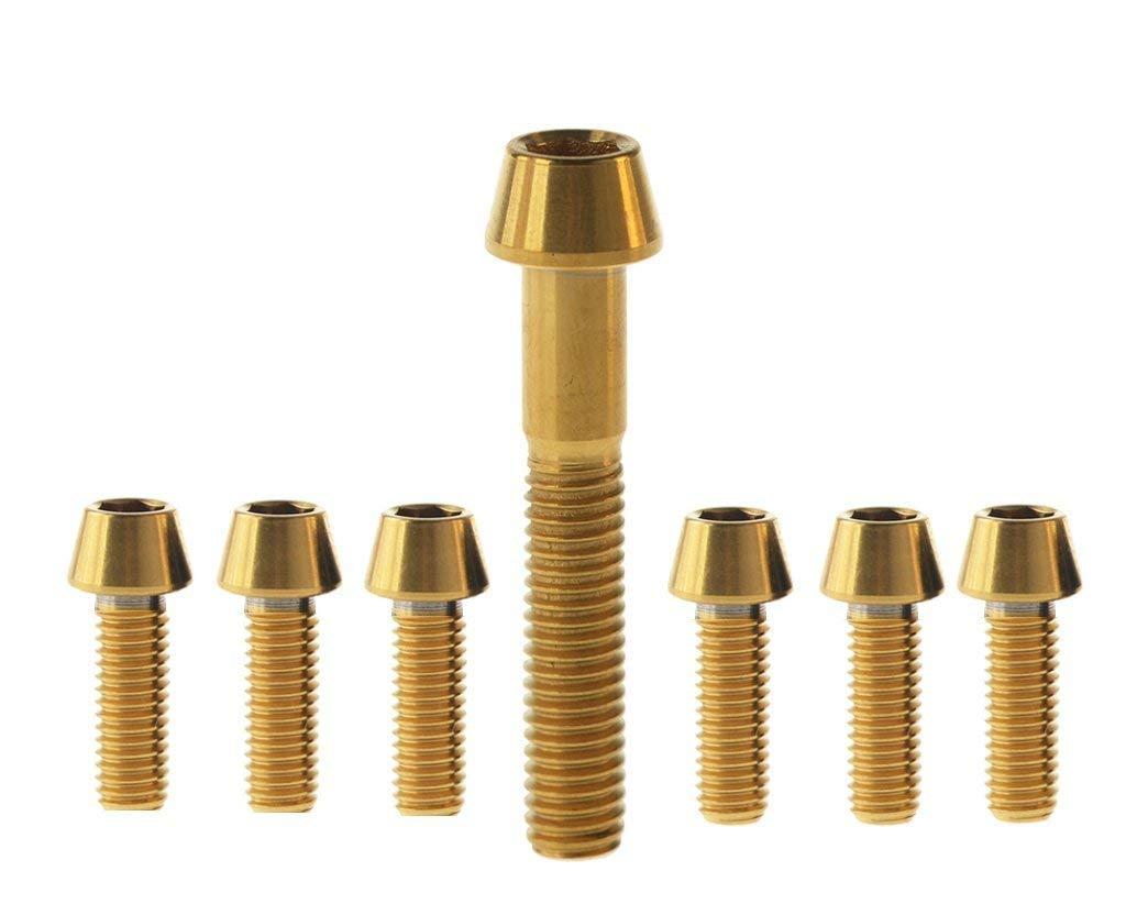 7pcs Ti Titanium Bolt Screw Kit M5 Conical /& M6 Square for Headset Cap Stem FSA