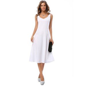 White Elegant Solid Dress Women Deep V Neck Fit And Flare Sleeveless Work Party Office Plus Size dresses 2017