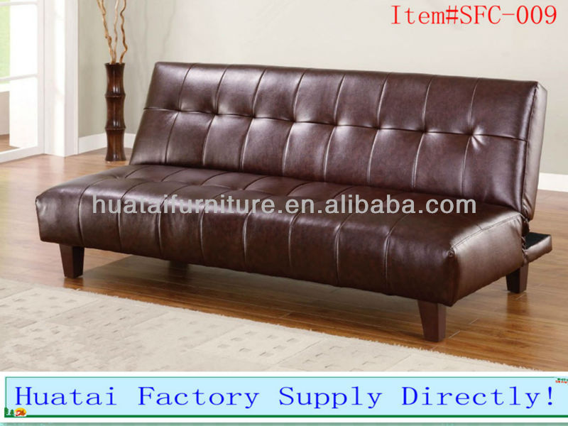 3 seater dark brown faux leather sofa bed ,functional sofabed