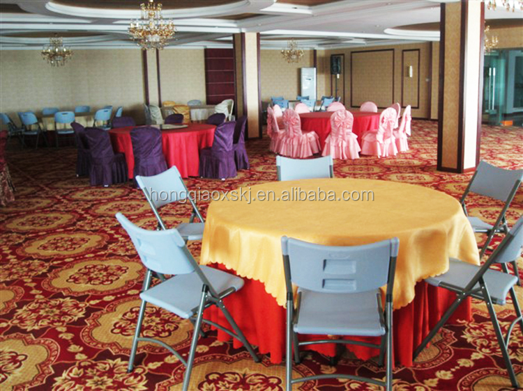 HDPE Plastic 200cm Restaurant Round Folding Table Top, Outdoor Used Round  Banquet Tables For Sale