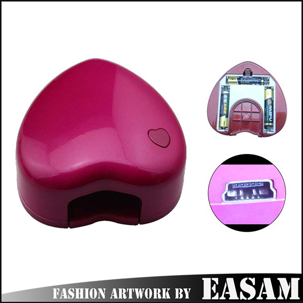 1.5W mini heart shape usb battery led nail lamp & better led uv nail lamp hot sale