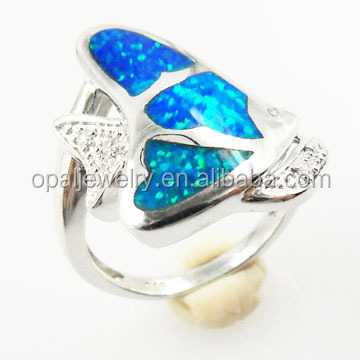 Sea Life Series Fish OEM Accepted Rhodium Plating Fire Opal Fashion Rings Size 5-13