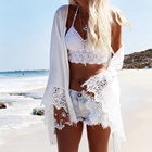 lace summer dress women beach print white sarong swimsuit cover up