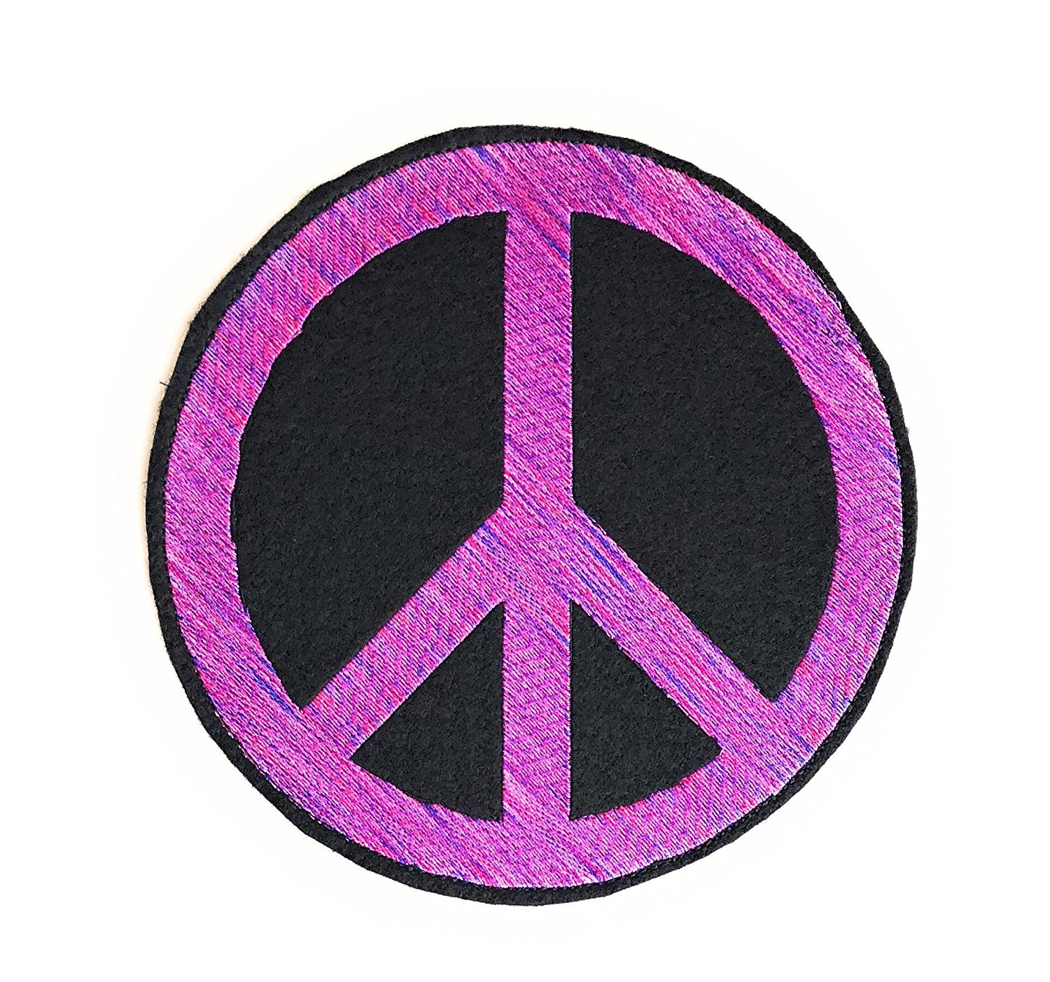 Pink Peace Sign Patch, Peace Symbol Patch, Peace Sign Sew on Patch, Large Patch 7.5 inches in Variegated Pink Made in USA