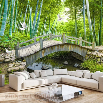 Custom 3d Mural Wallpaper Small Bridge And Running Water Wallpaper For Tv Sofa Backdrop Buy 3d Mural Wallpaper 3d Wallpaper Mural 3d Wall Murals