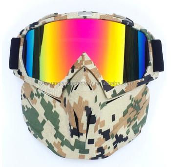 22b848594a Militar Cam Retro pasamontañas cara de máscara medio casco Modular desmontable  gafas al aire libre Airsoft