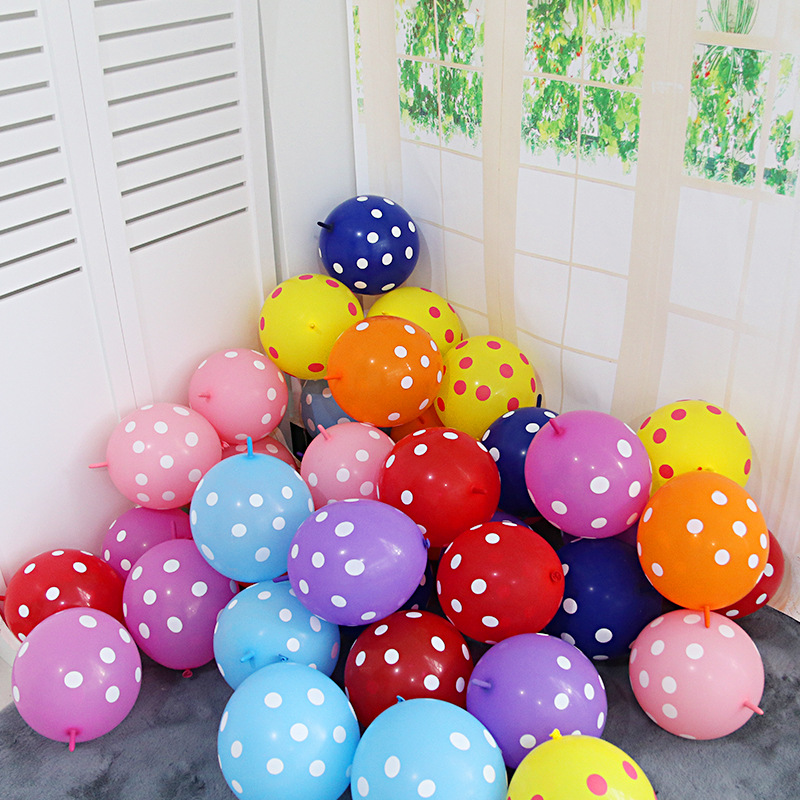 Dotted Printed Latex Tail Balloons Can Be Connected 12 Inch New design  Tail Latex ballon For Party Happy Birthday  decorations