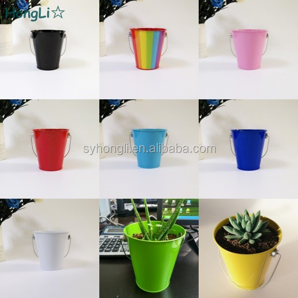Tinplate Material and Eco-Friendly Feature wholesale mini tin buckets for Succulent Plants