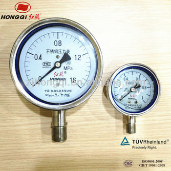 Y100BF all stainless steel air pressure gauge