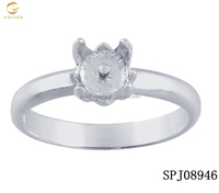 wholesale silver pearl cup findings,engraved s925 pearl ring settings and mountings