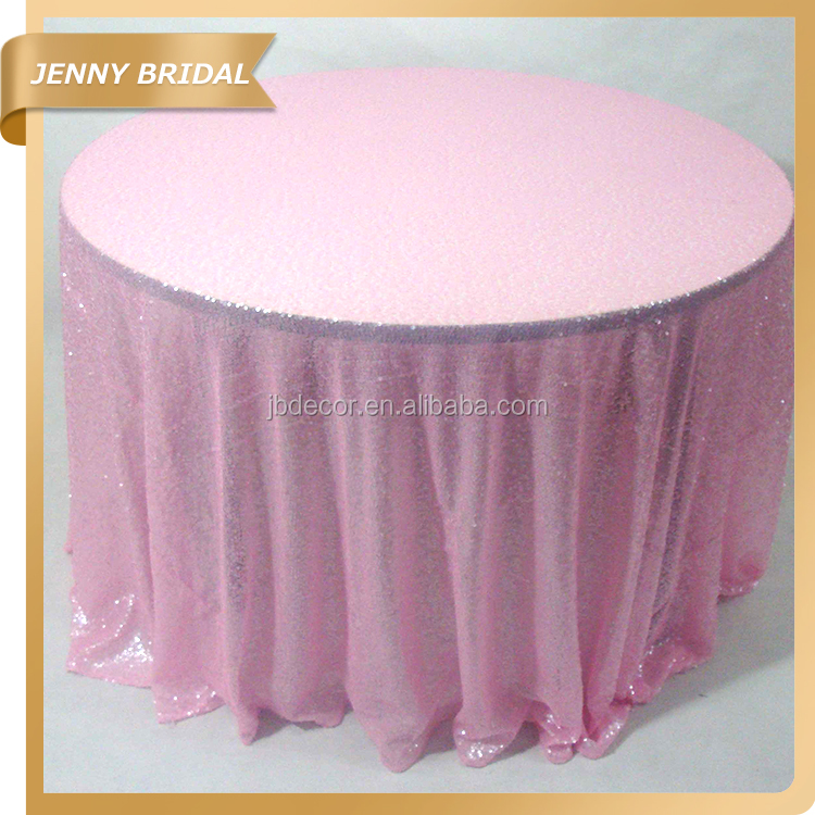 SQN#17 blush pink fancy sequins cheap round tablecloth