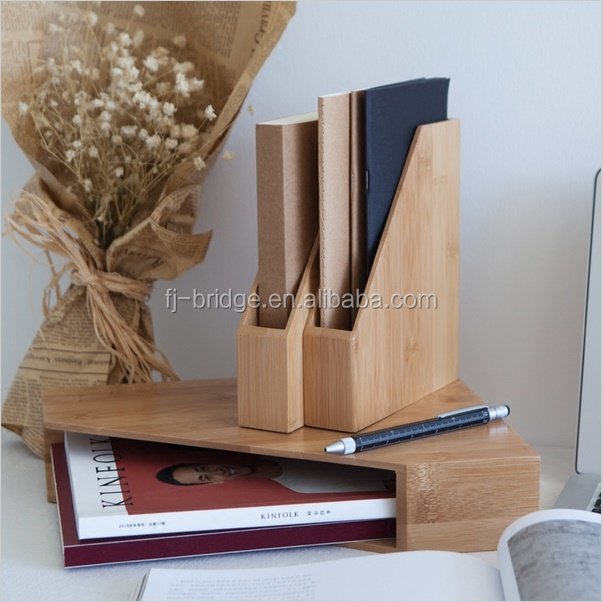 Creative Bamboo Office File Rack Eco Natural Wood Book Shelf Multi-Use Table Decor Storage Box Desk Organizer for A4/A5 Paper