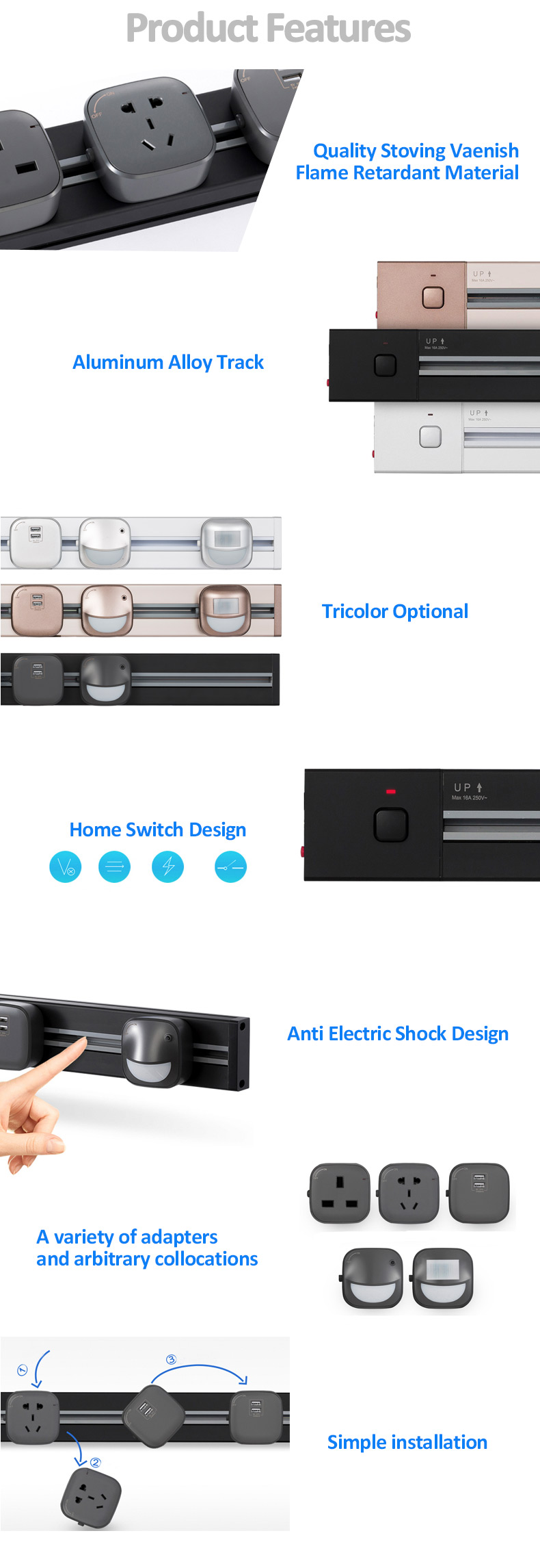 Universal multi smart office desk power track system electric socket outlet / electric track for multi electrical sockets