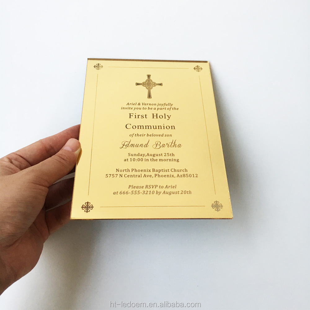 5x7inch Golden Mirror Acrylic First Holy Communion/Baptism/Christening Invitation Card 100pcs Per Lot