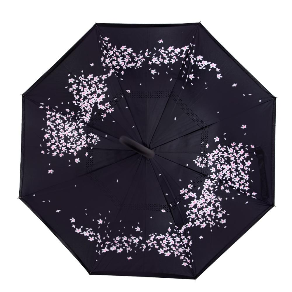 China manuefacture high quality flower print folding reverse inverted umbrella