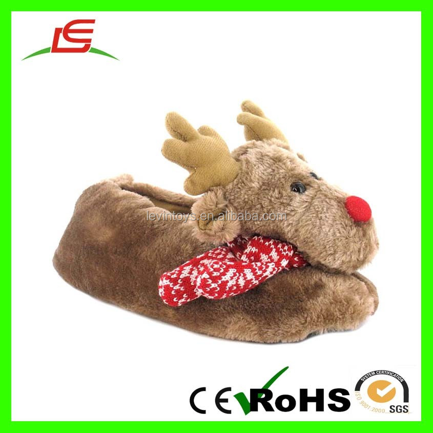 Plush Winter Reindeer Indoor Christmas Kids Slippers - Buy Winter ...