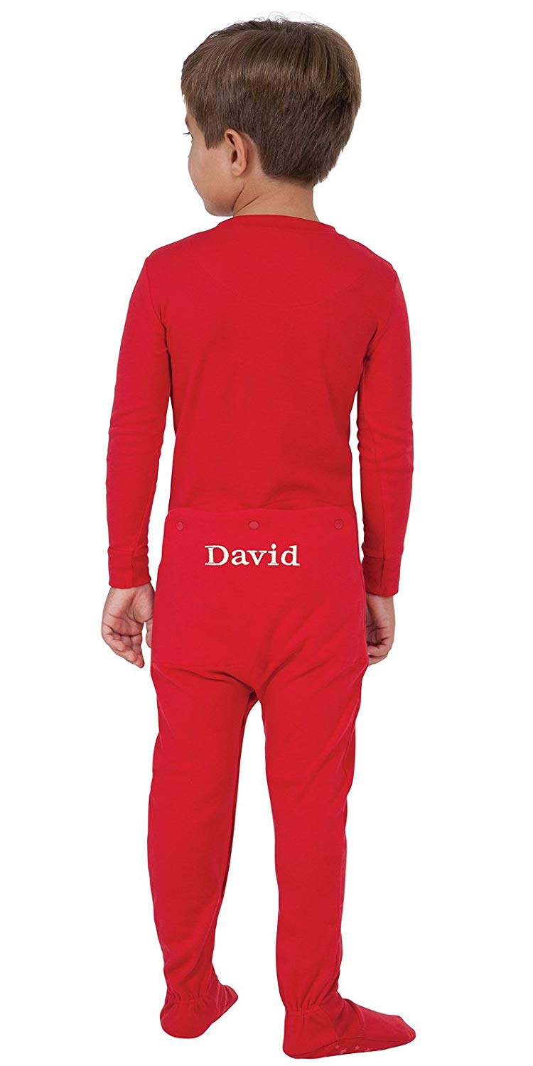 Get Quotations · PajamaGram Personalized Red Dropseat Footie Pajamas 50300db76