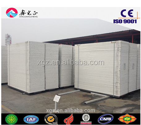 0.35mm-0.6mm Baosteel PPGI both side 50/75/100mm EPS/rock wool sandwich used for steel structure roof and wall made by XGZ