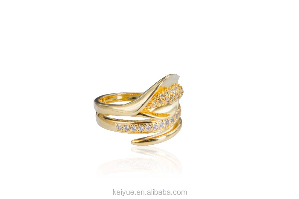 Latest Ladies Finger Indian 18k Gold Plated Rings Design Cz ...