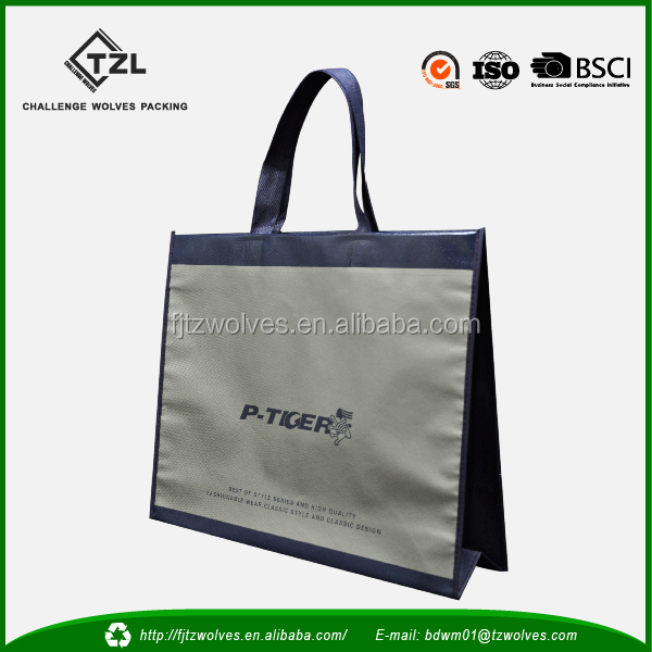 Large reusable nonwoven bag with shiny lamination