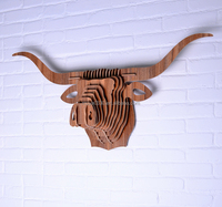 Bull Head Wood Crafts Wall Hanging Home Store Hotel Cafe Decoration DIY Puzzle Assembled Animal Head Ornament Wall Decor