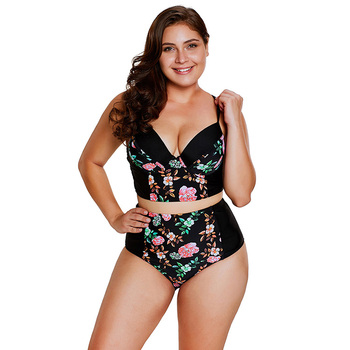 Hot Selling Wholesale Women Swimsuits Beachwear Plus Size Plump Lady's Floral Push Up High Waist Sexy Two Piece Bikini