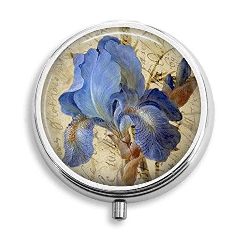 Vintage Iris Flower Pill Box Pill Holder Pill Case Medicine Holder Decorative Box Mint Tin Vitamin Holder Small Craft Container Handmade Gifts For Her