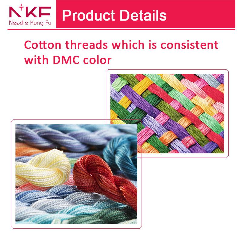 NKF Holiday wreath cross stitch dome flower embroidery aida cloth