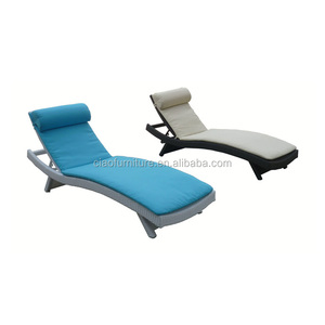 Stackable outdoor lounge chair rattan pool sun lounger