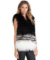 Artificial fur black and white wave-like strieps winter women vest