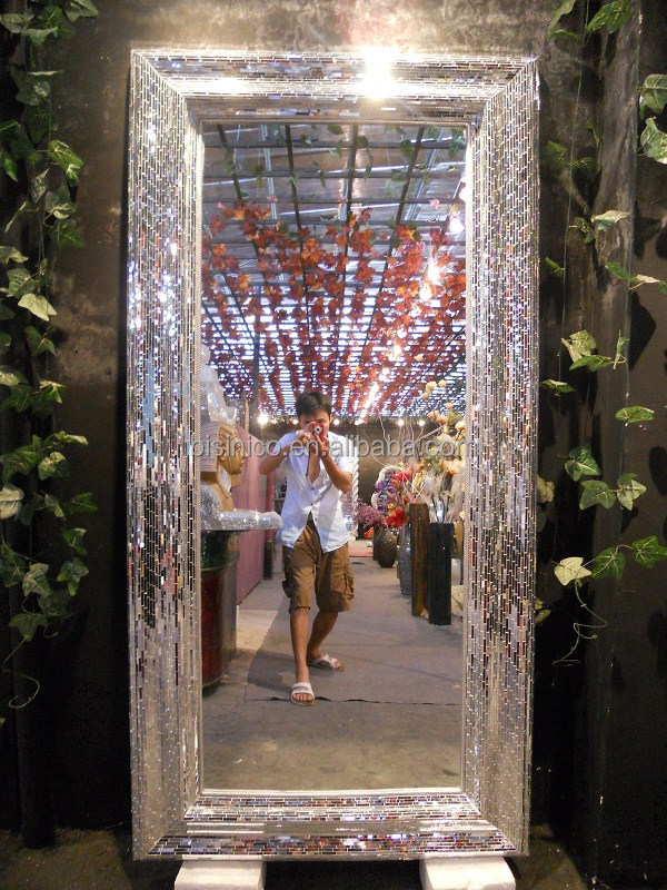Large floor free standing full length mirrors mosaic frame for Framed floor mirror