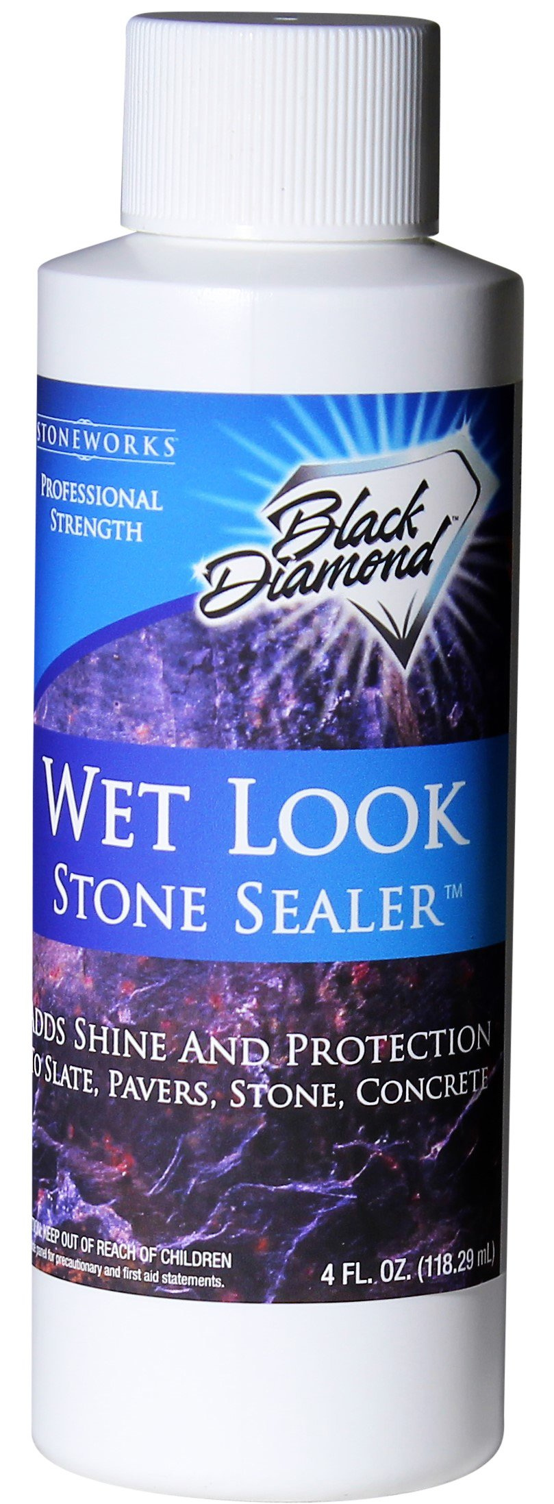 Black Diamond Stoneworks Wet Look Natural Stone Sealer Provides Durable Gloss and Protection to: Slate, Concrete, Brick, Sandstone, Driveways, Garage Floors. Interior or Exterior. Trial