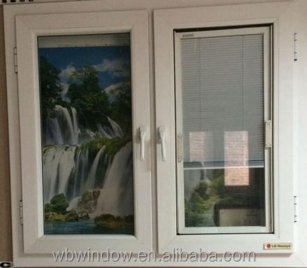 Pvc Double Glass Window With Inside Blind Double Glazed
