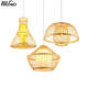 Indoor modern pendant light wood hanging lamp handmade bamboo material chandelier DD1343