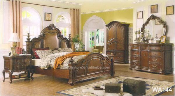 Arabic antique solid wood bedroom furniture WA138