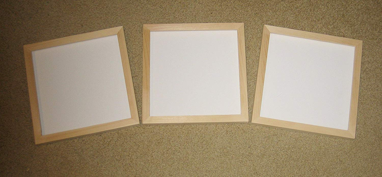 Unfinished wood 8x8 picture frames lot of 3 - includes plexi, backing, & hanger