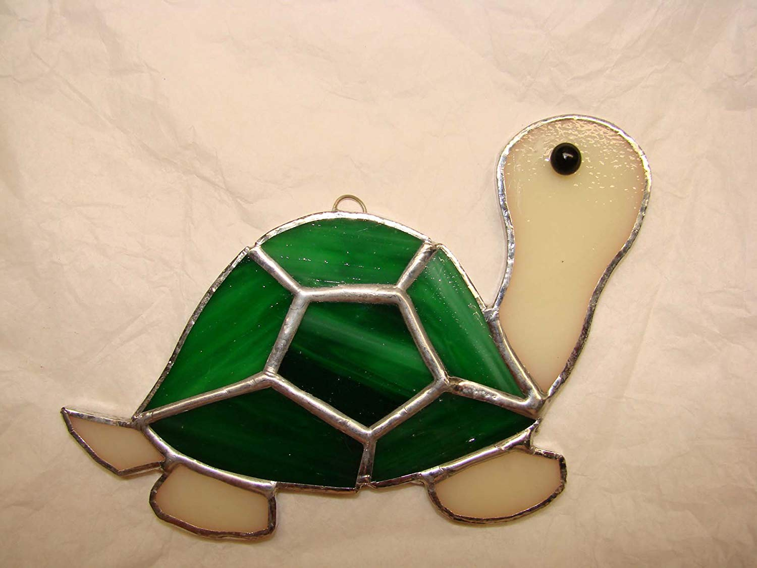 Small Bright Green Turtle Handmade Stained Glass Ornament or Sun Catcher