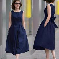 Custom Brand Fashion Women Clothing 2017 Plain Flare Sleeveless Waist Tie Elegant Homecoming Party Plus Size Lady Summer Dresses