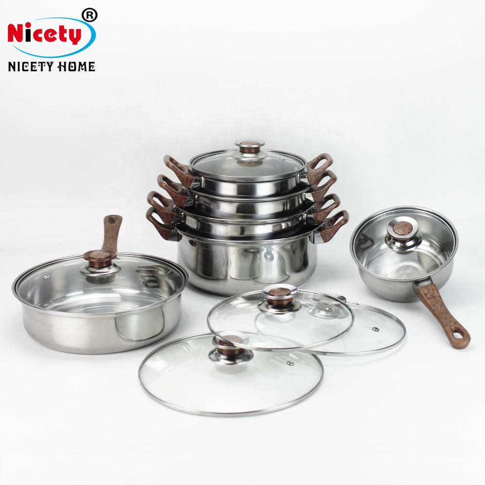 High Quality 12pcs Stainless Steel Kitchen Utensils Non-stick Cooking Pot  Set With Wooden Handle - Buy Wooden Handle Stainless Steel Cooking Utensil  ...