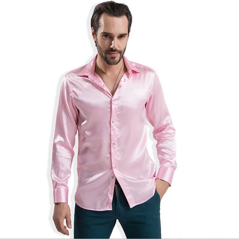 2e3226725e5de Men s Pure silk men s long-sleeved shirt iron shirts ...
