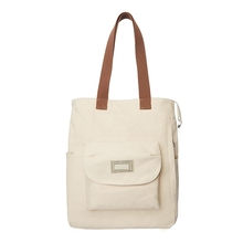 New fashion Korean version 의 solid color 큰 capacity 와 pocket 어깨 휴대용 canvas bag