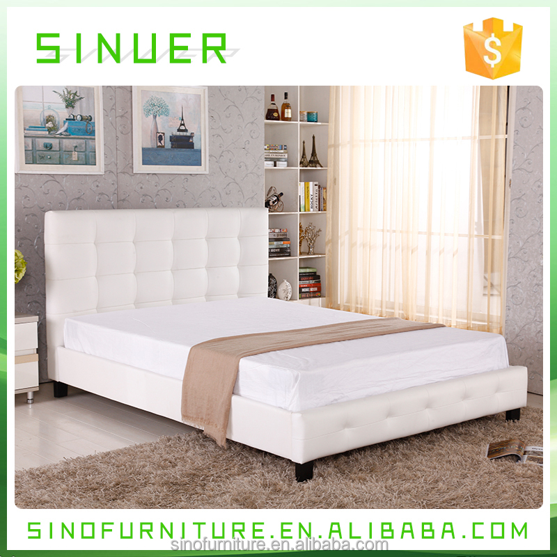 Queen size wooden platform white modern leather bed frame for Europe