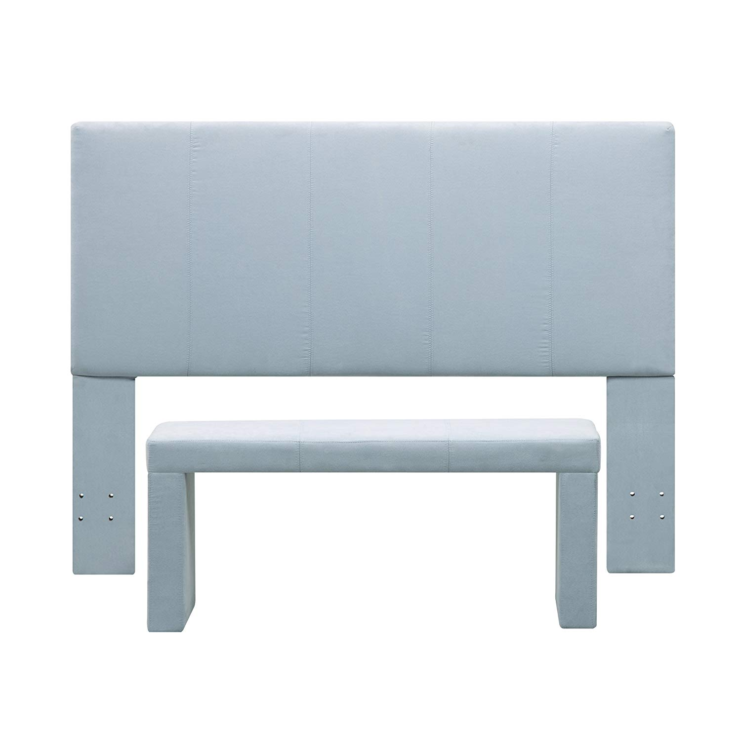 Handy Living 40HB-FQ-AAA52 Nelson Microfiber Headboard and Bench Set, Full/Queen, Sky Blue