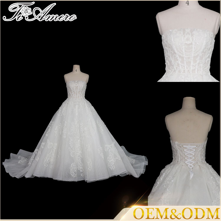 Tiamero white halter strapless backless wrapping bandage bubble ball gown wedding dress