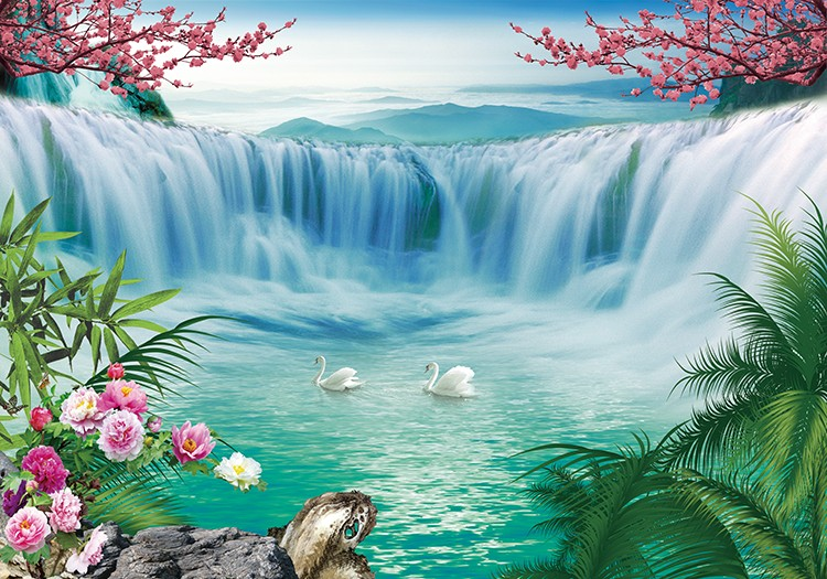 SW 3393 Beautiful Waterfall Scenery Wallpaper Wall Murals For Decor Home