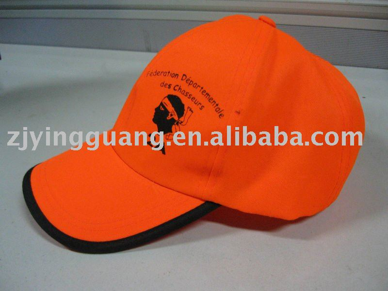 Safety Cap/Hat with Reflective Binding, Made of Fluorescent Yellow Fabric T/C or Oxford