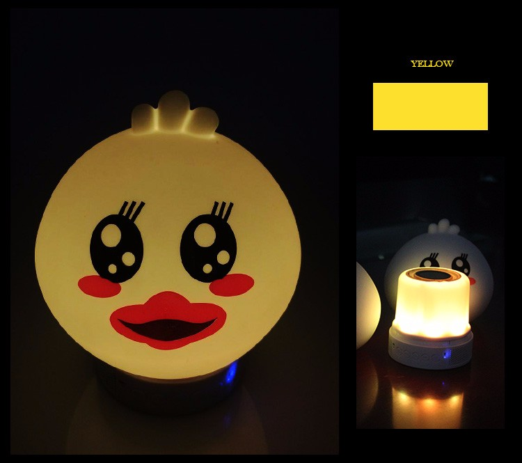 Portable Silicone USB Rechargeable app glutton duck bluetooth speaker with led light