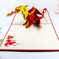 3d Greeting New Design Hotsale Birthday Card Animal Red Dragon Pop Up Card