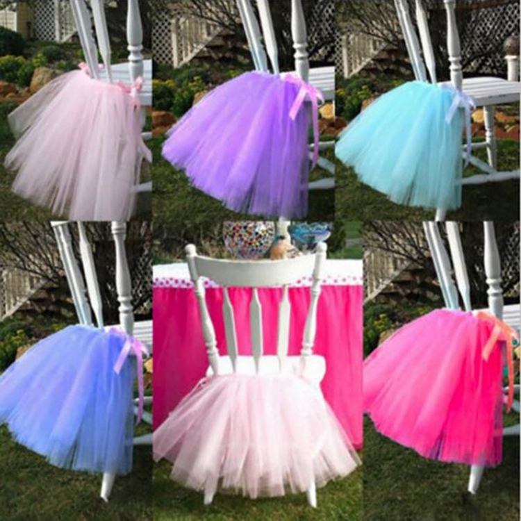Wholesale fashion color tutu chair skirt wedding banquet pink tulle chair skirt