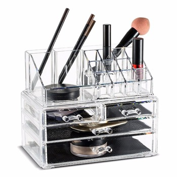 Acrylic Makeup Organizer Storage Boxes Make Up Organizer For Jewelry Cosmetics Brush Organizer Case with 4 Drawers